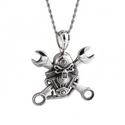 Stainless steel wrench & skull - punk style necklace