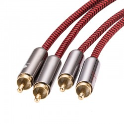 HiFi audio cable - 2 RCA to 2 RCA - braided cable OFC - 1m - 2m - 3m - 5m - 8m - 10m - 12m - 15m