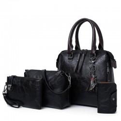 Elegant leather handbag - 4 pieces set
