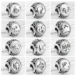 925 sterling silver - 12 constellation zodiac - beads for bracelet