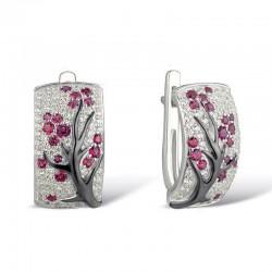 Rose flowers - luxury earrings with cubic zirconia