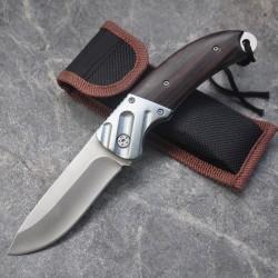 Mini couteau de poche avec manche en bois - pliable 15cm