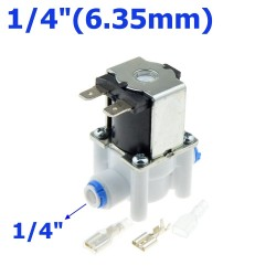 "Plastic solenoid valve - 1/4""-3/8"" hose pipe - quick connection to water reverse osmosis system"