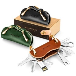 Modern - brand new genuine leather - smart key wallet - EDC pocket car key holder - key organizer holder