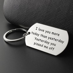 Love You More Today Than Yesterday - stainless steel keyring