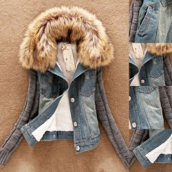 Fashion good quality women jeans coat - fleece short denim jacket - slim fur collar outerwear tops
