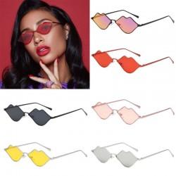 Lips shaped sunglasses with a metal frame
