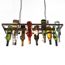 Vintage - hanging bottles holder - iron ceiling lamp - E27 LED