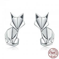 Renard géométrique - boucles d'oreilles en argent à la mode