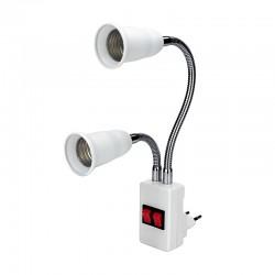 E27 - double tête - culot flexible - convertisseur - douille d'ampoule