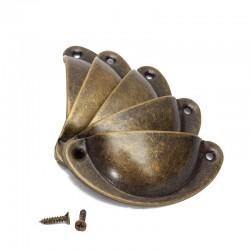 Poignées de meuble en forme de coquille avec vis - 8 pièces