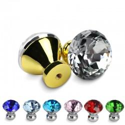 Poignées de meubles avec vis - boutons en cristal - 30mm - 5 pièces